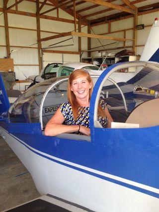 Carole in plane